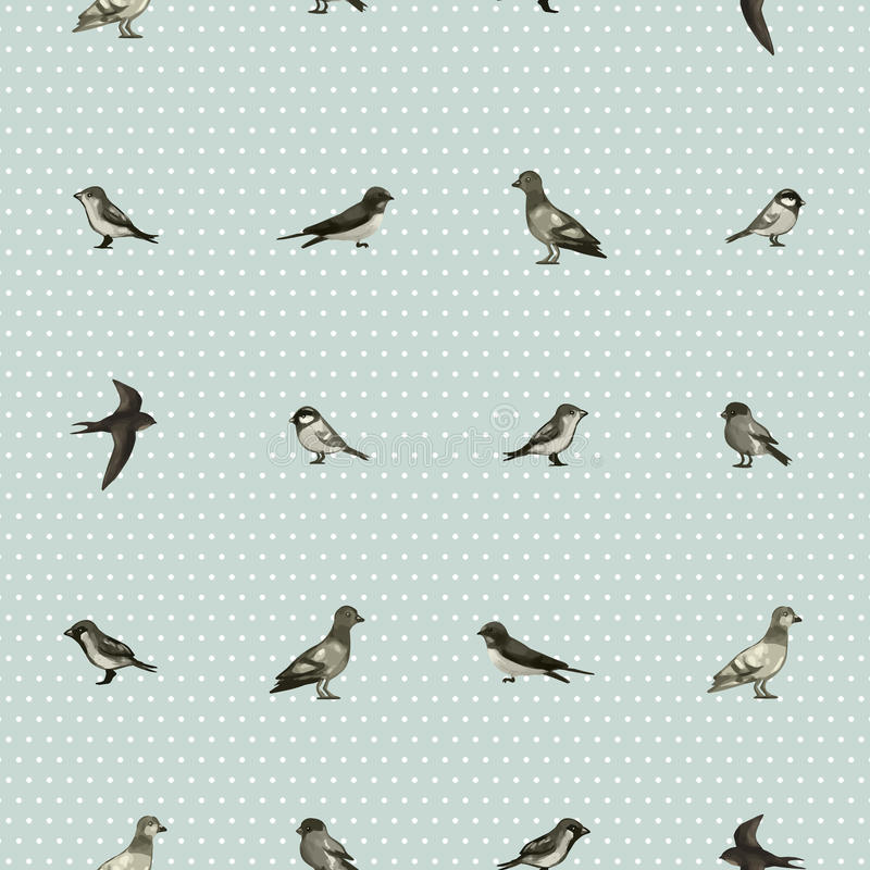 Seamless pattern with cute little birds royalty free illustration