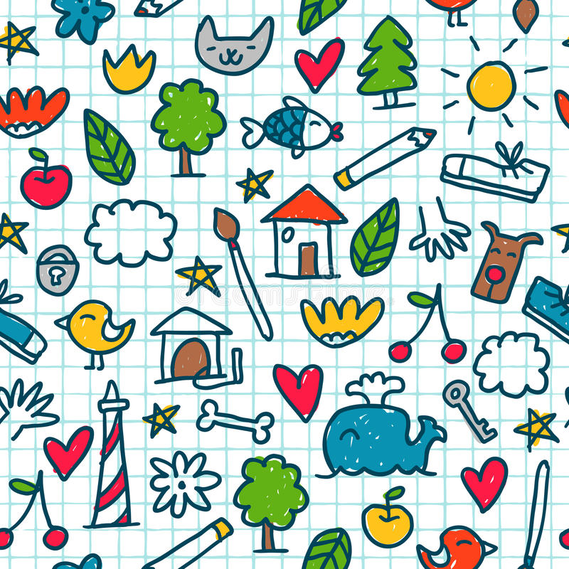 Seamless pattern with cute little drawings in the exercise book vector illustration