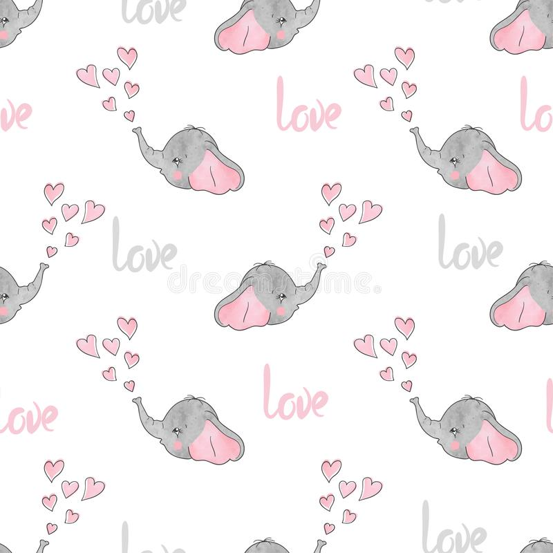 Seamless pattern with cute little elephants and hearts. vector illustration