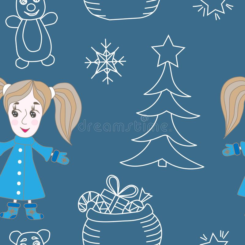Seamless pattern with cute little girl and white line tree, star royalty free illustration