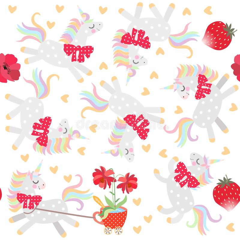 Seamless pattern with cute little unicorns, hearts, strawberry and flowers in red mug vector illustration