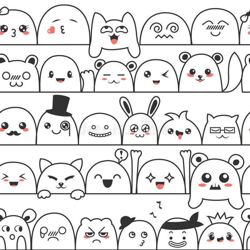 Seamless pattern with cute lovely kawaii monsters and animals. Doodle cartoon clouds with faces in manga style. Cute royalty free illustration