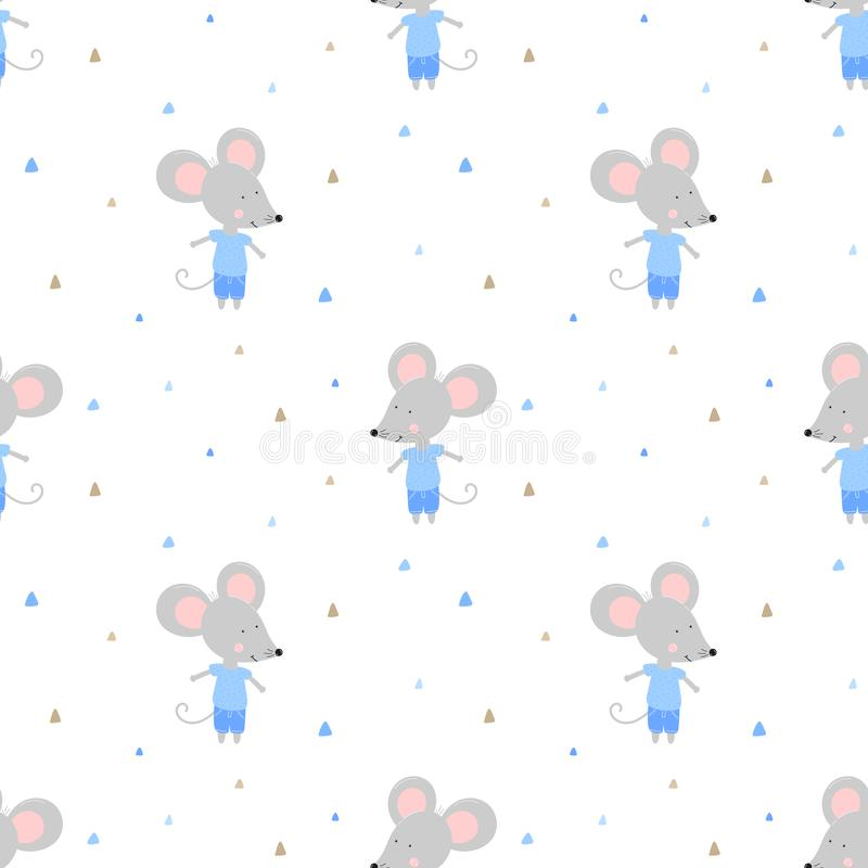 Seamless pattern of cute mice in blue clothes and triangles. Vector image for boy. Illustration for holiday, baby shower, birthday royalty free illustration