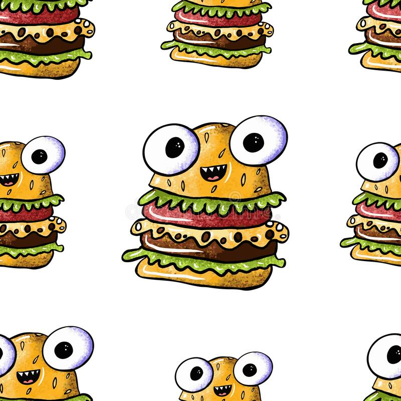 Seamless pattern of cute monster burger on an isolated white background. Fast food with eyes, junk food. Design for poster, print. Kids menu. Digital hand stock illustration