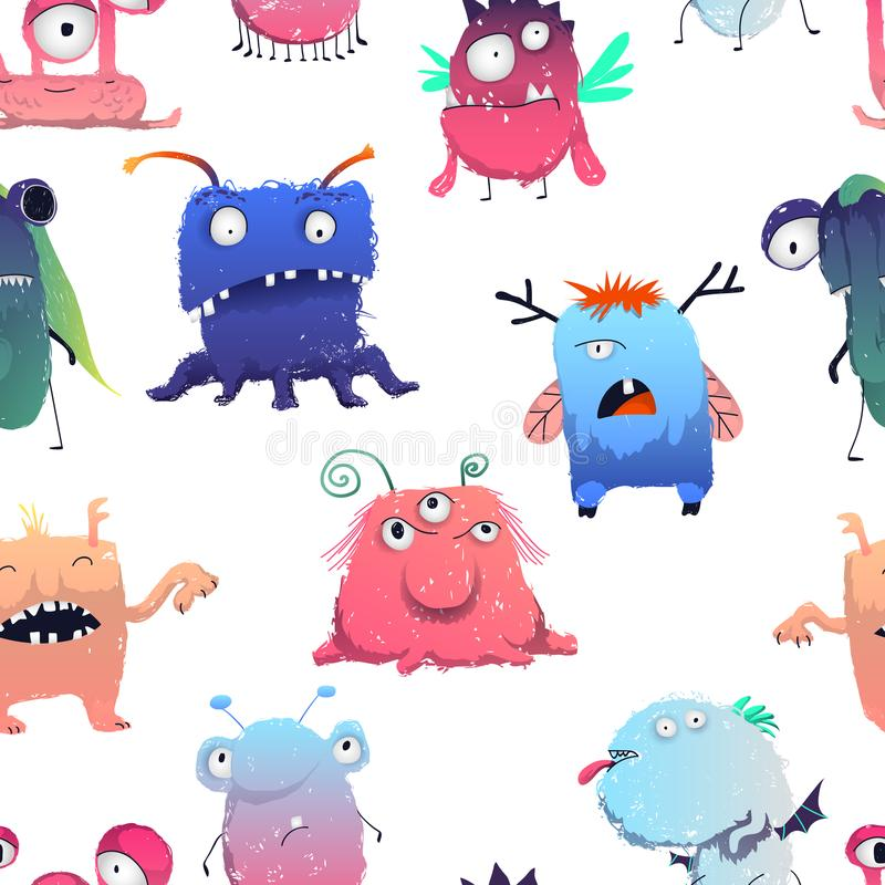 Seamless pattern with cute monsters set. Cartoon characters in color pencil style. objects on white background. stock illustration