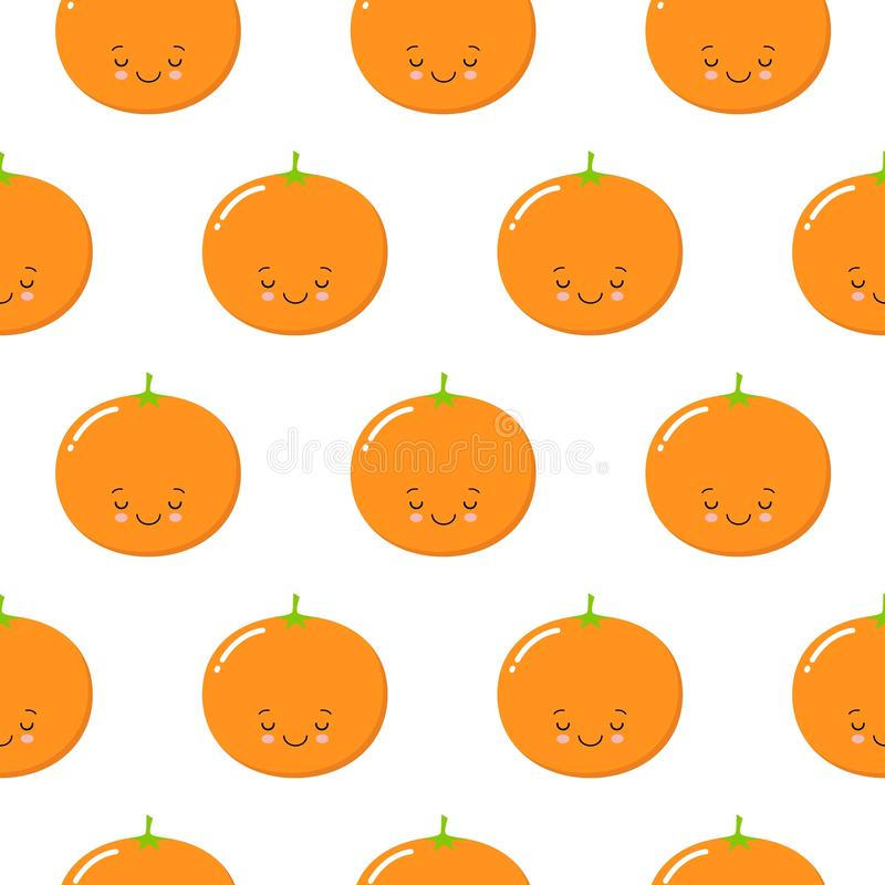 Seamless Pattern with Cute Oranges Fruit. Fresh Background. Kawaii style royalty free illustration