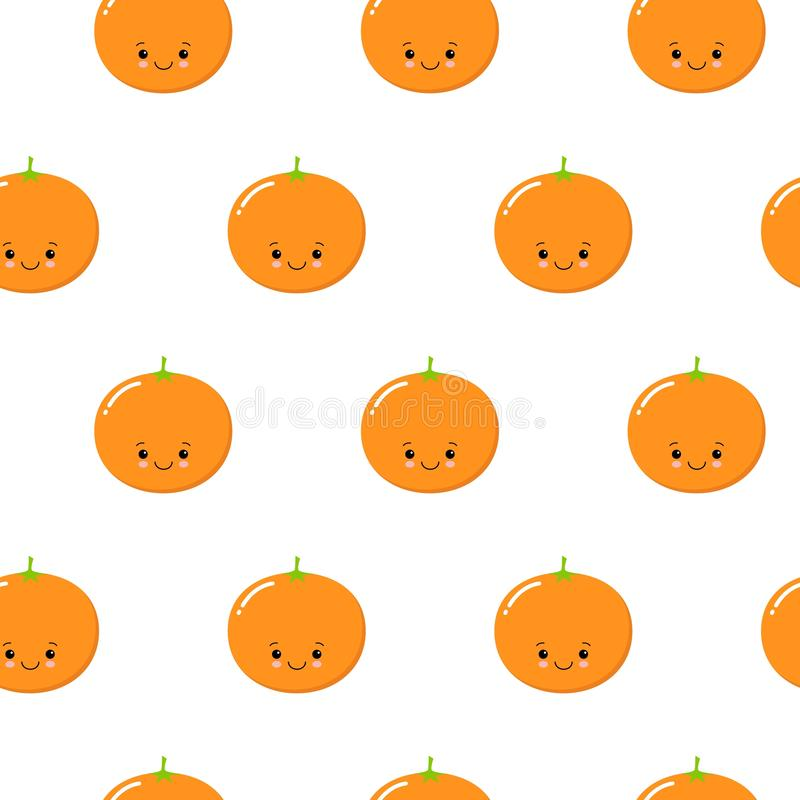 Seamless Pattern with Cute Oranges Fruit. Fresh Background with Stylized Citrus Fruits and Green Petals. kawaii royalty free illustration
