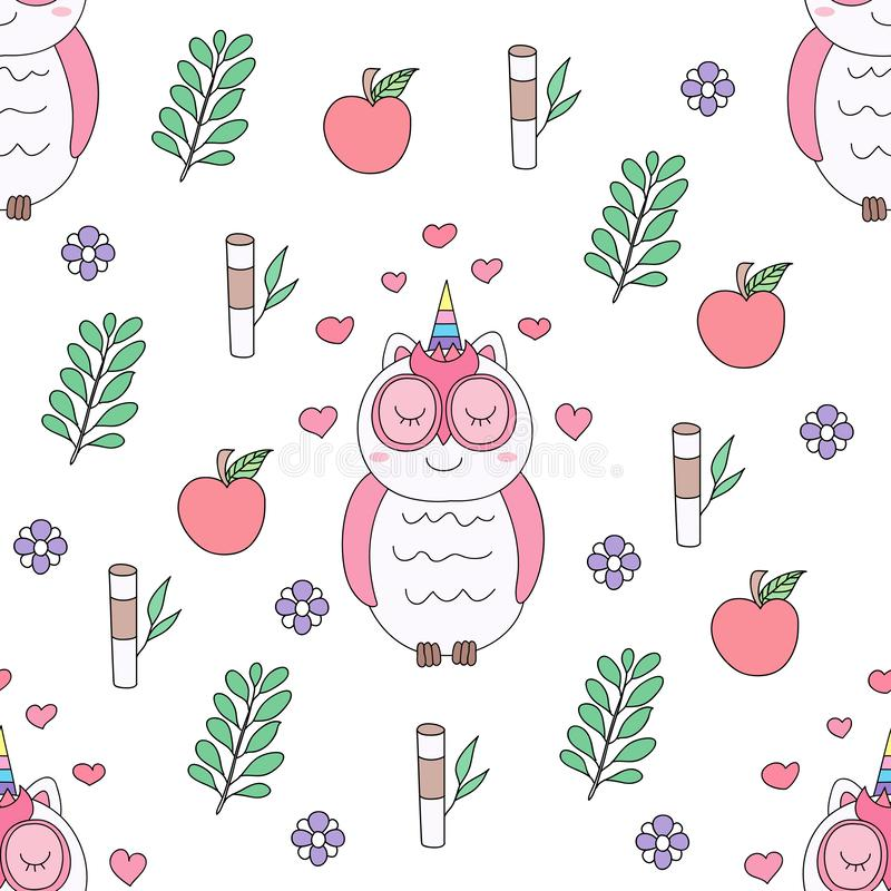 Seamless pattern cute owl cartoon hand drawn style. stock illustration