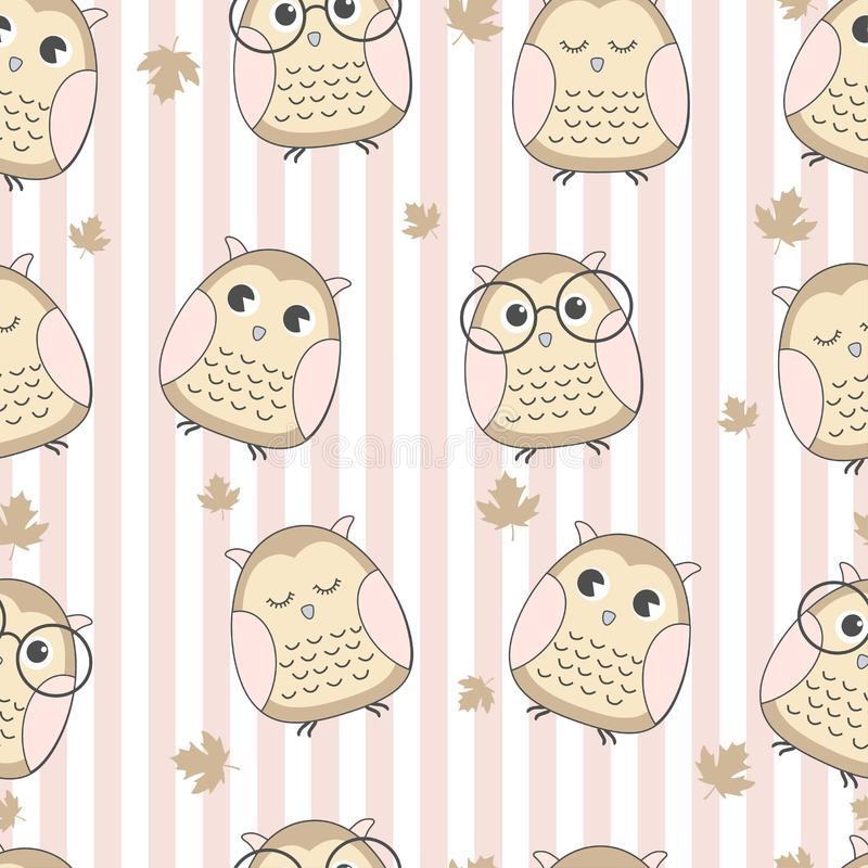 Seamless pattern cute owl with leaf royalty free illustration