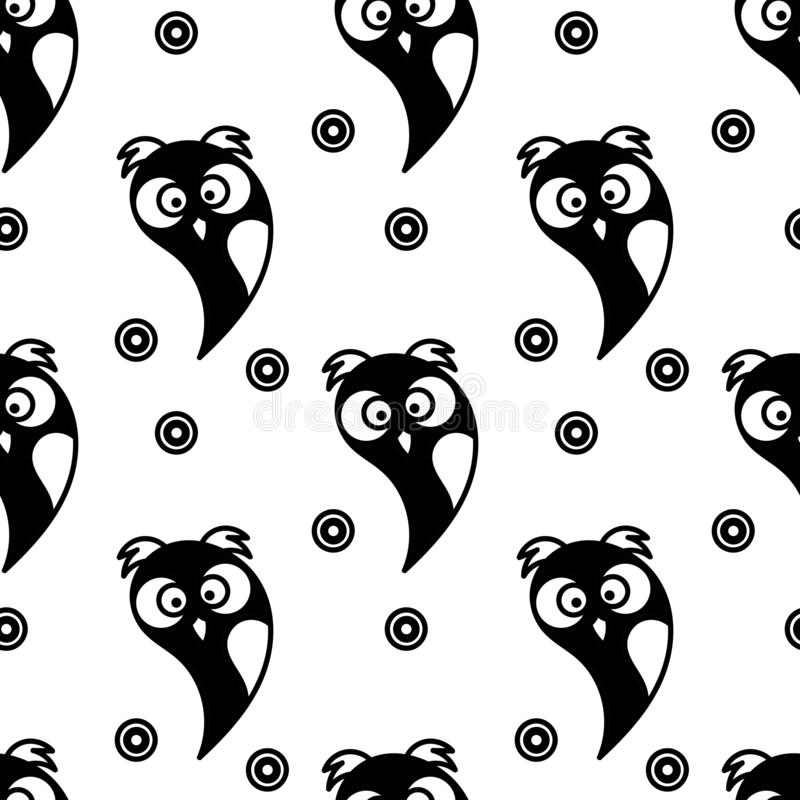 Seamless pattern. Cute owls. Black and white. Vector vector illustration
