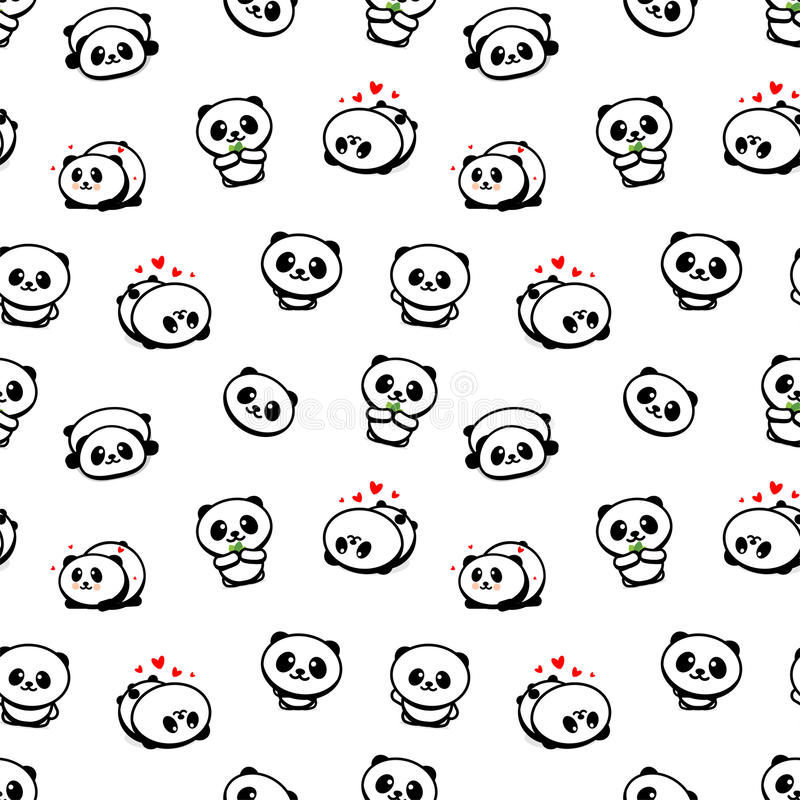 Seamless Pattern with Cute Panda Asian Bear Vector Illustrations, Collection of Chinese Animals Simple Texture Elements stock illustration