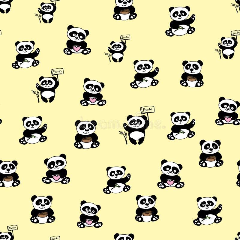 Seamless pattern with cute panda bea vector illustration
