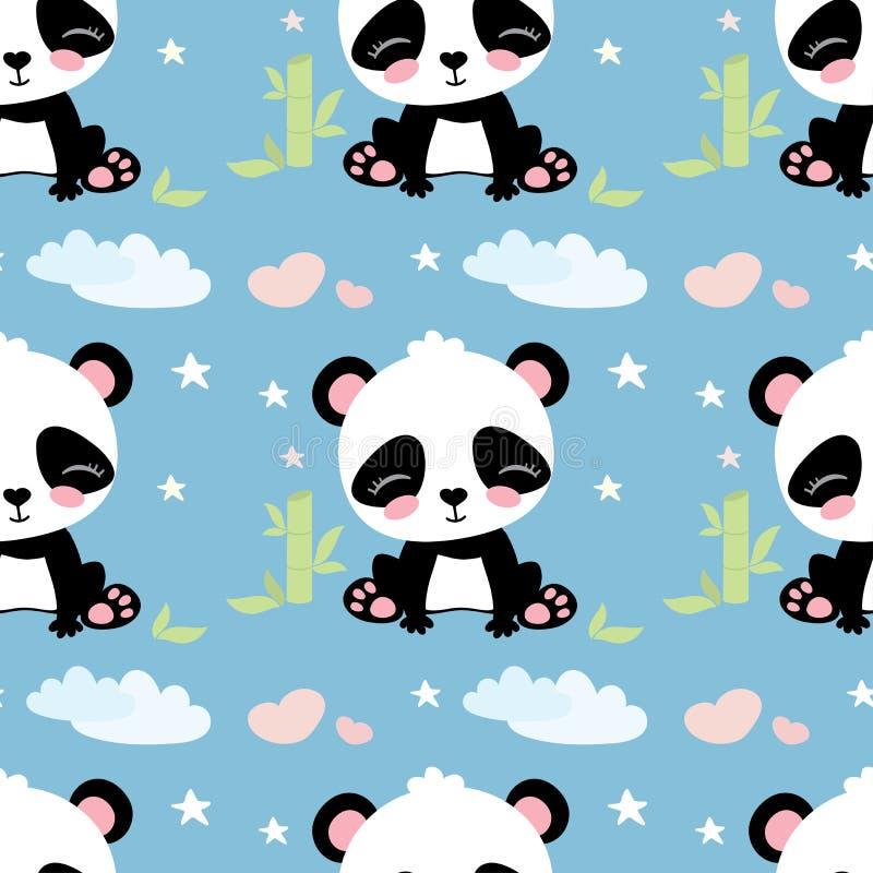 Seamless pattern with cute panda bear vector illustration