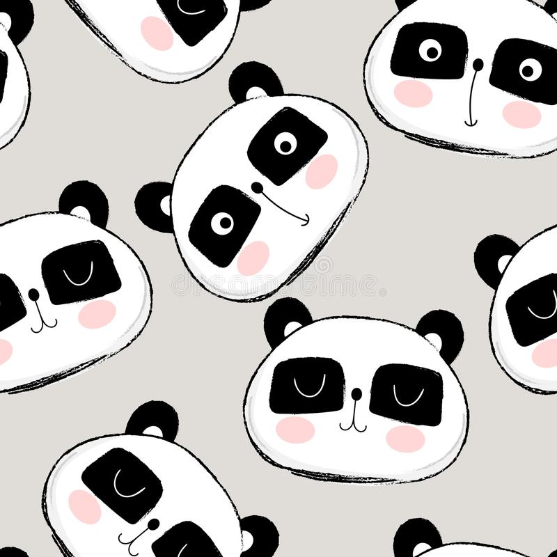 Seamless pattern with cute panda face royalty free illustration