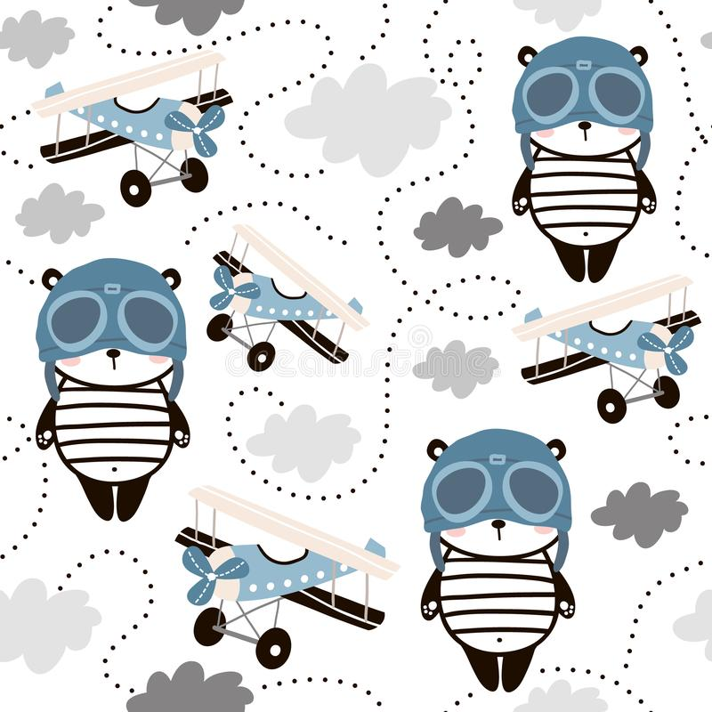 Seamless pattern with cute panda in pilot cap and retro air planes. Creative childish texture for fabric, wrapping, textile, royalty free illustration