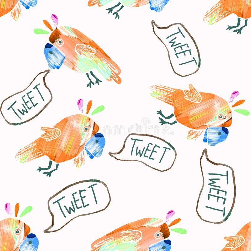 Seamless pattern with cute parrots. Illustration isolated on white background stock photos