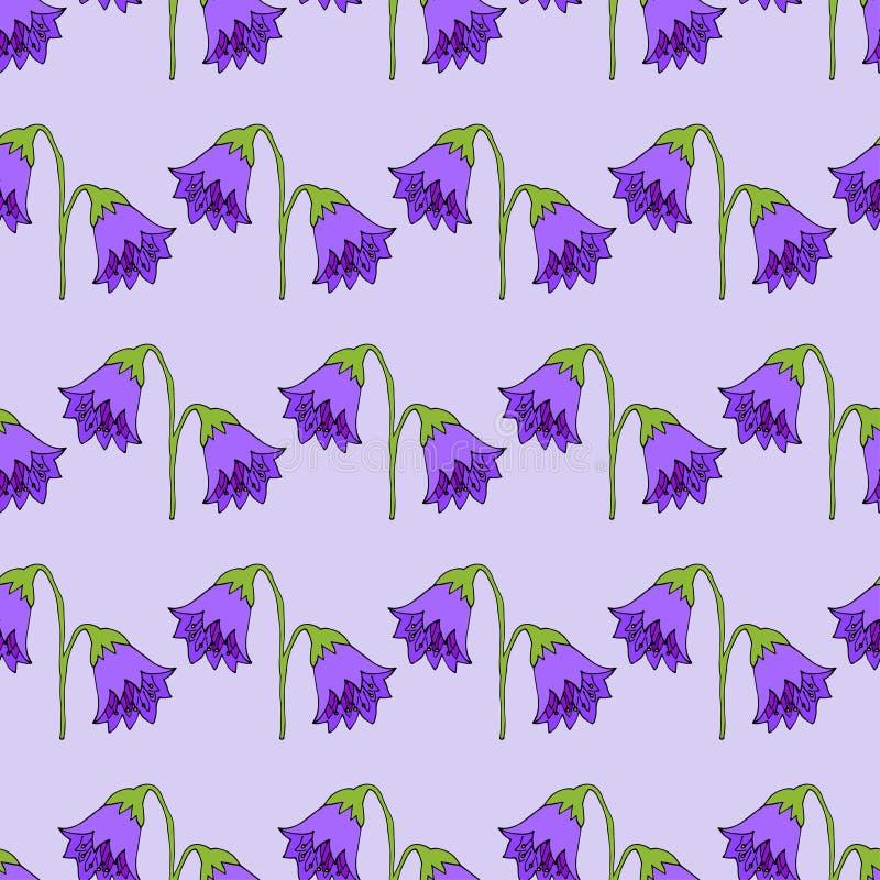 Seamless pattern. Cute pattern in flower. Purple bells. Light violet background. Ditsy floral stock illustration