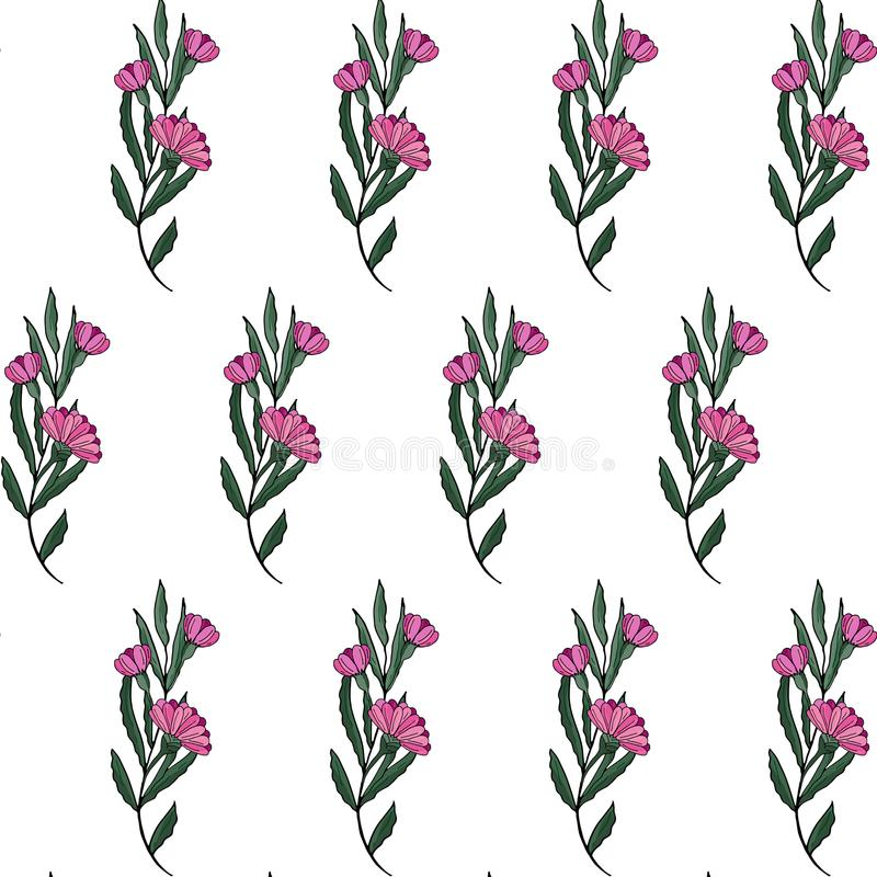 Seamless pattern. Cute pattern in small flower. Pink gerbera flowers. White background. Ditsy floral vector illustration
