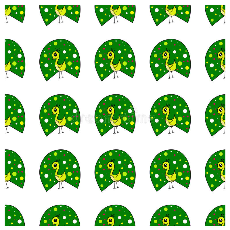 Seamless pattern with cute peacocks stock photography