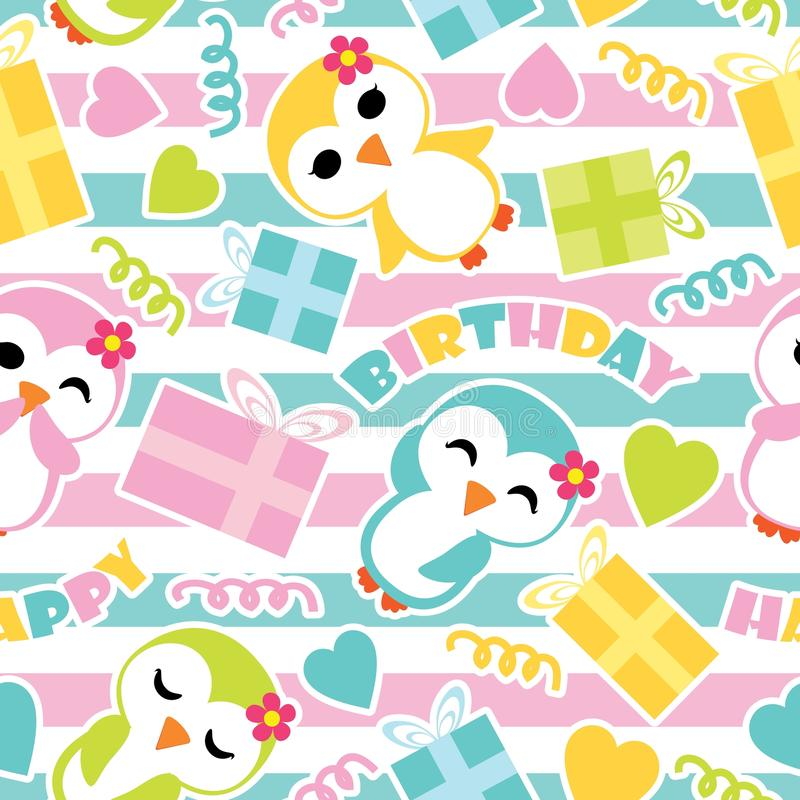 Seamless pattern of cute penguin girls and birthday gift boxes on striped background vector cartoon illustration for birthday wrap royalty free illustration