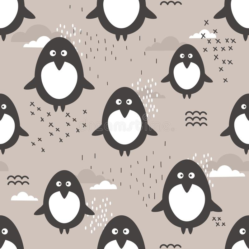Seamless pattern, cute penguins. Decorative cute background with animals royalty free illustration