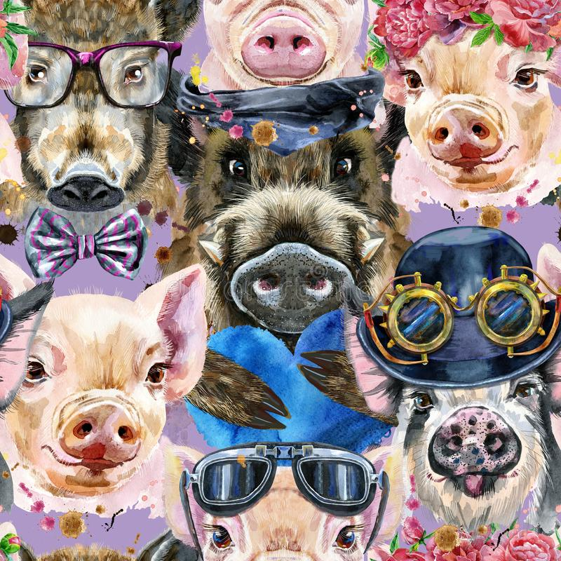 Seamless pattern of watercolor portrait pigs and boar. Seamless pattern of cute pigs for decoration stock illustration