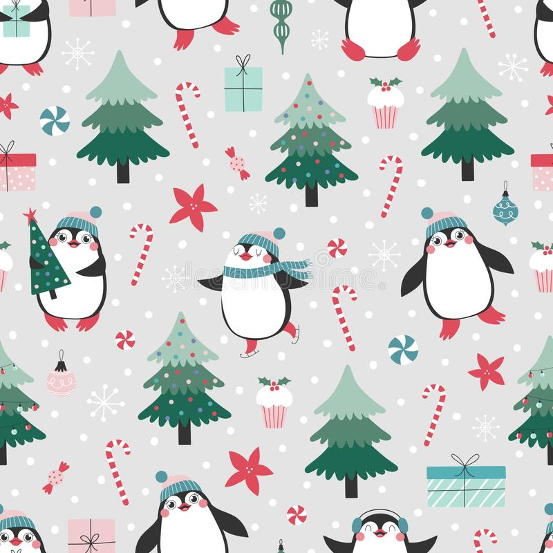 Seamless pattern with cute pinguins and christmas elements stock illustration