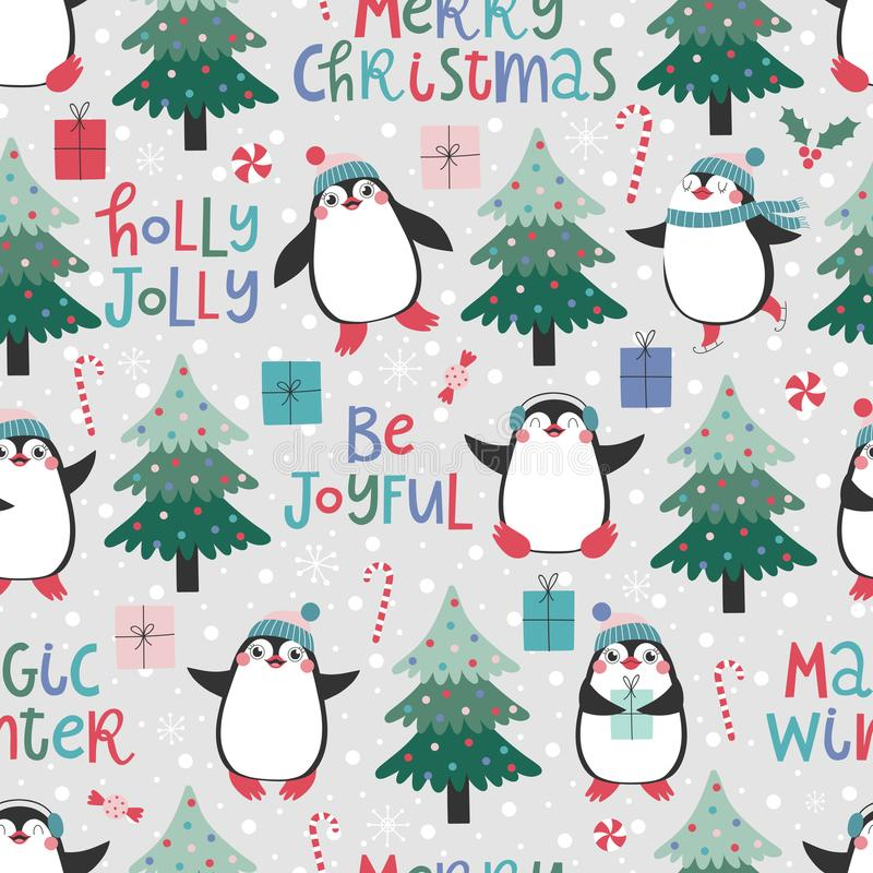Seamless pattern with cute pinguins, christmas elements and text Merry Christmas vector illustration