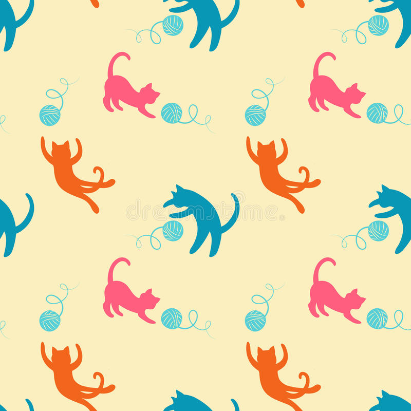 Seamless pattern with cute playing cats. royalty free illustration