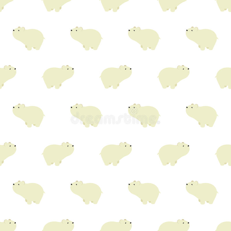 Seamless pattern with cute polar bears in simple cartoon style. stock illustration