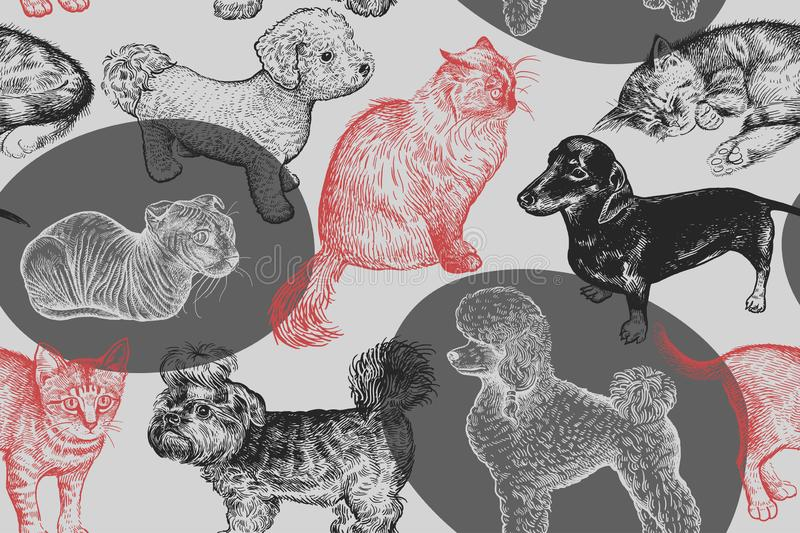 Seamless pattern. Cute puppies and kittens. Hand-made drawing of stock illustration