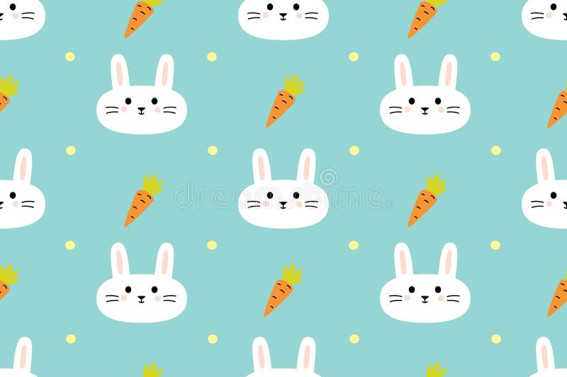 Seamless pattern with cute rabbits and carrots royalty free stock photos
