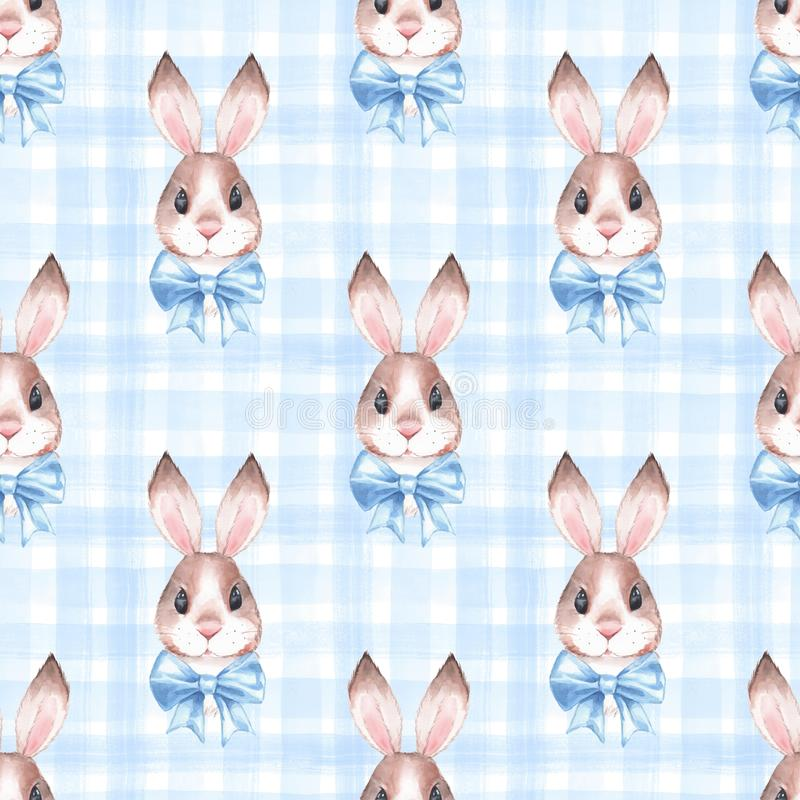 Seamless pattern with cute rabbits 2 royalty free illustration