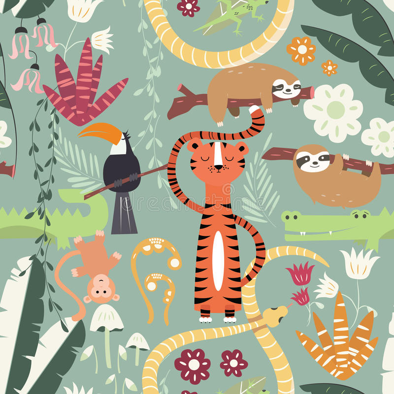 Seamless pattern with cute rain forest animals, tiger, snake, sloth vector illustration