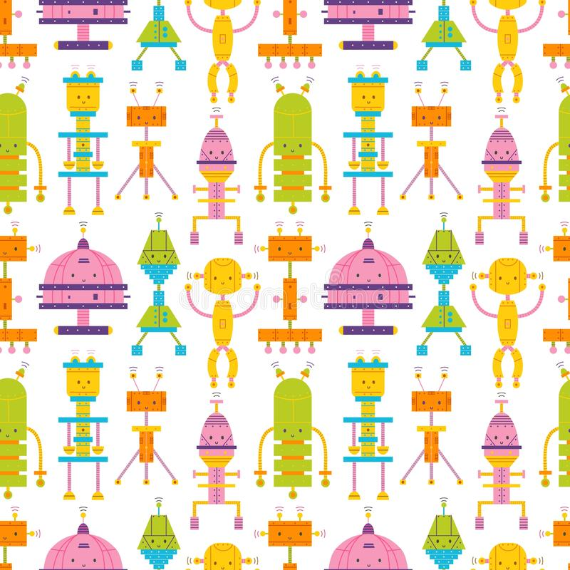 Seamless pattern with cute robots on white background. Backdrop with toy cyborgs, electronic monsters. Colorful vector vector illustration