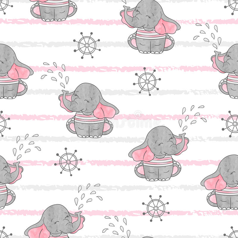 Seamless pattern with cute sailor elephants. vector illustration
