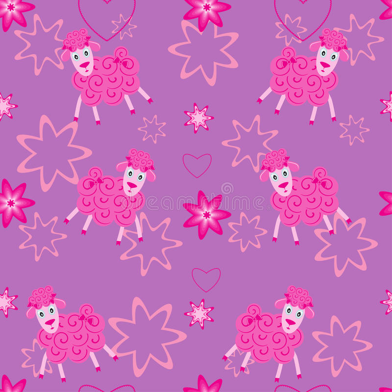 Seamless Pattern With Cute Sheep Stock Image