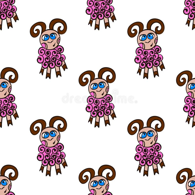 Seamless pattern with cute sheep. Animall background vector illustration