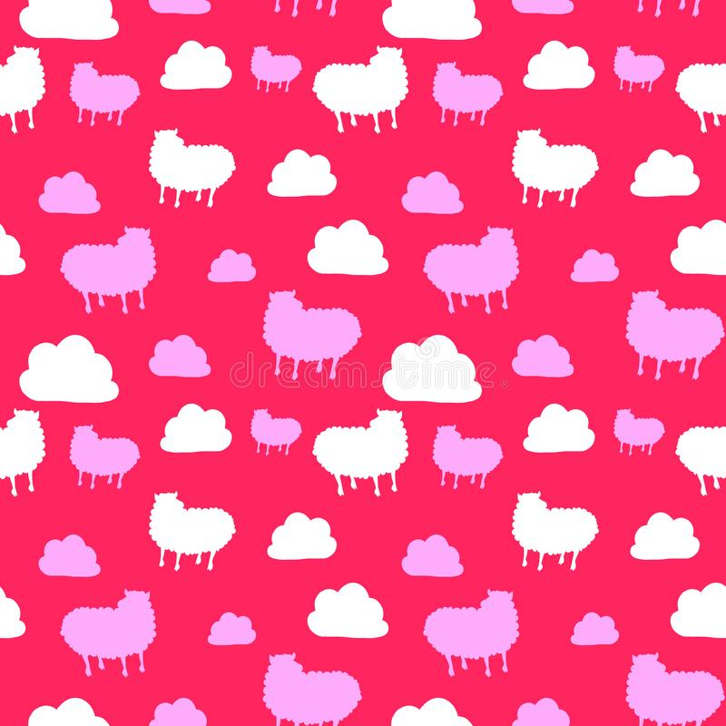 Seamless pattern with cute sheep and clouds. pink backgraund royalty free stock photos