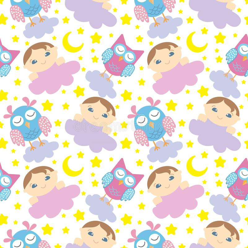 Seamless pattern with cute sleeping owls, baby, moon, stars and clouds. Sweet dreams background. Vector illustration.  royalty free illustration