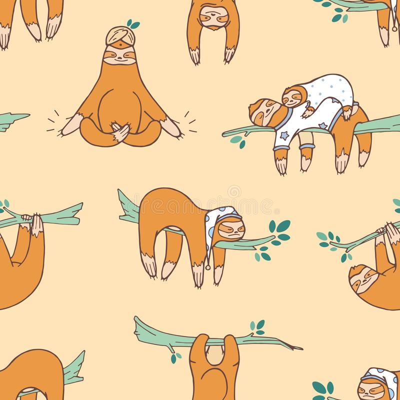Seamless pattern with cute sloths sleeping, napping, dozing. Backdrop with adorable lazy wild exotic animal. Colored. Cartoon vector illustration in flat style stock illustration