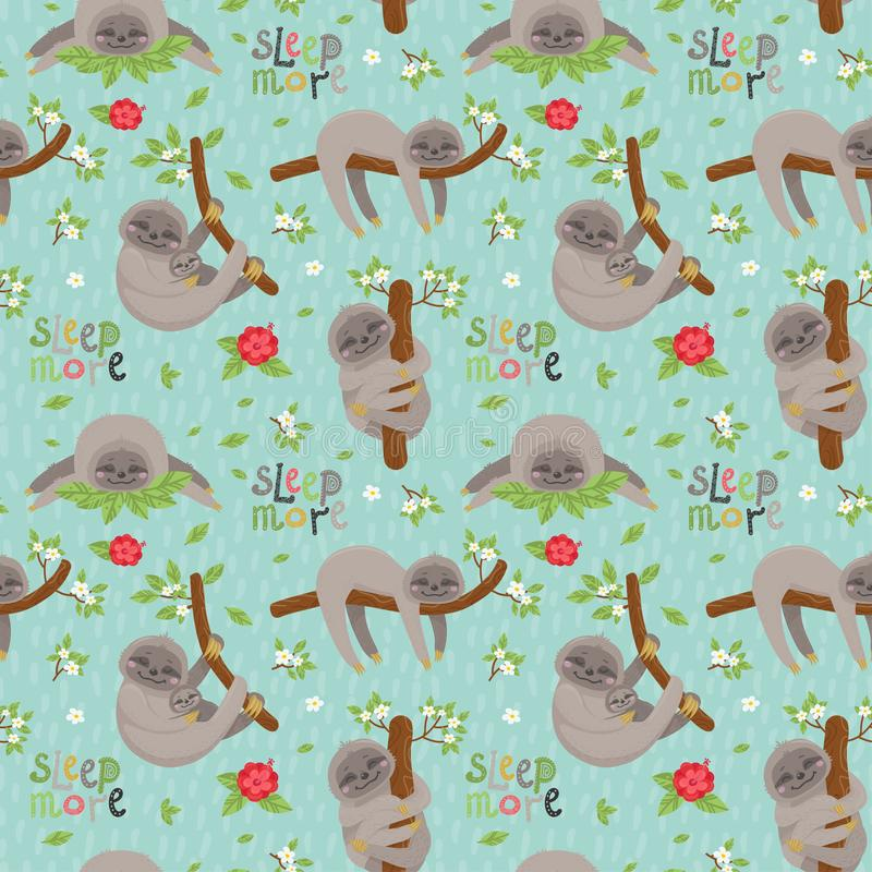Seamless pattern with cute sloths sleeping on tropical lianas branches royalty free illustration
