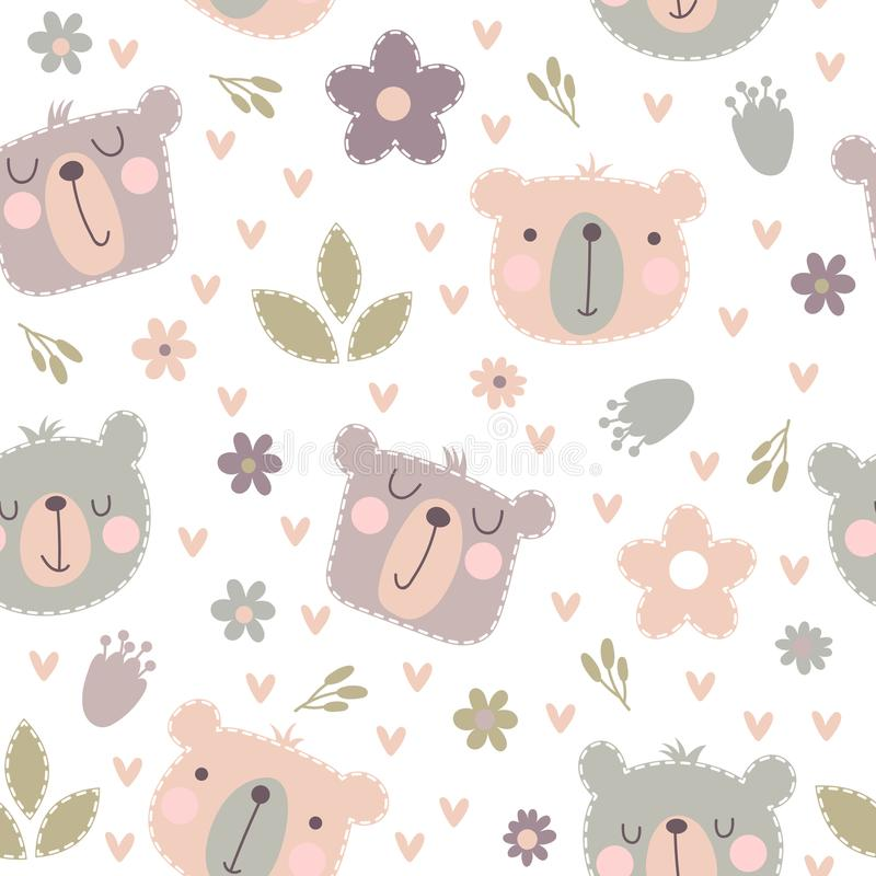 Seamless pattern with cute bears vector illustration