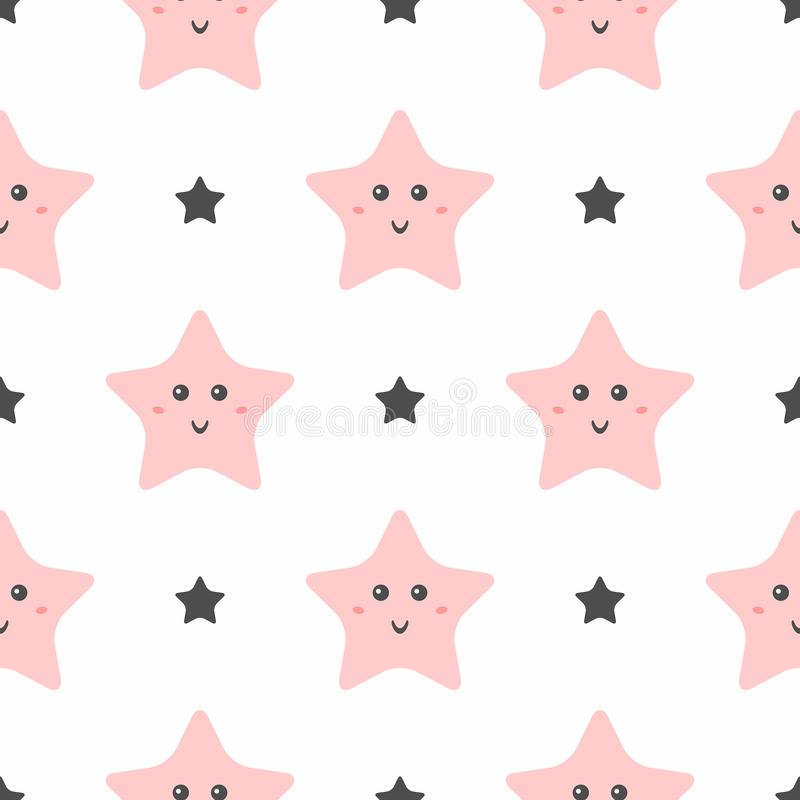 Seamless pattern with cute smiling stars. Pajama print for girls. royalty free illustration