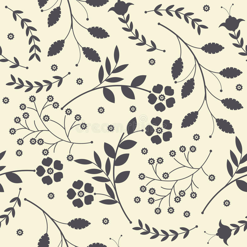 Seamless pattern with cute spring flowers, leaves and decorative stock illustration