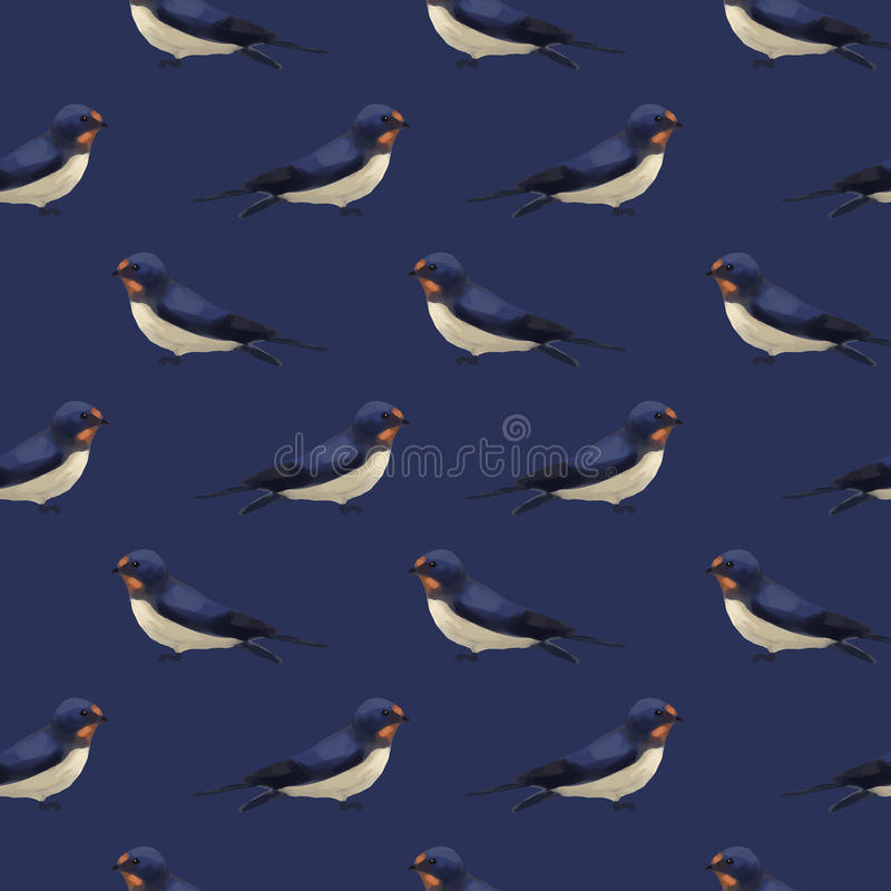 Seamless pattern with cute swallows vector illustration
