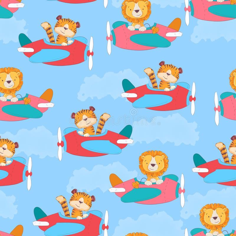 Seamless pattern cute tiger and leon on the plane in cartoon style. Hand drawing. stock illustration