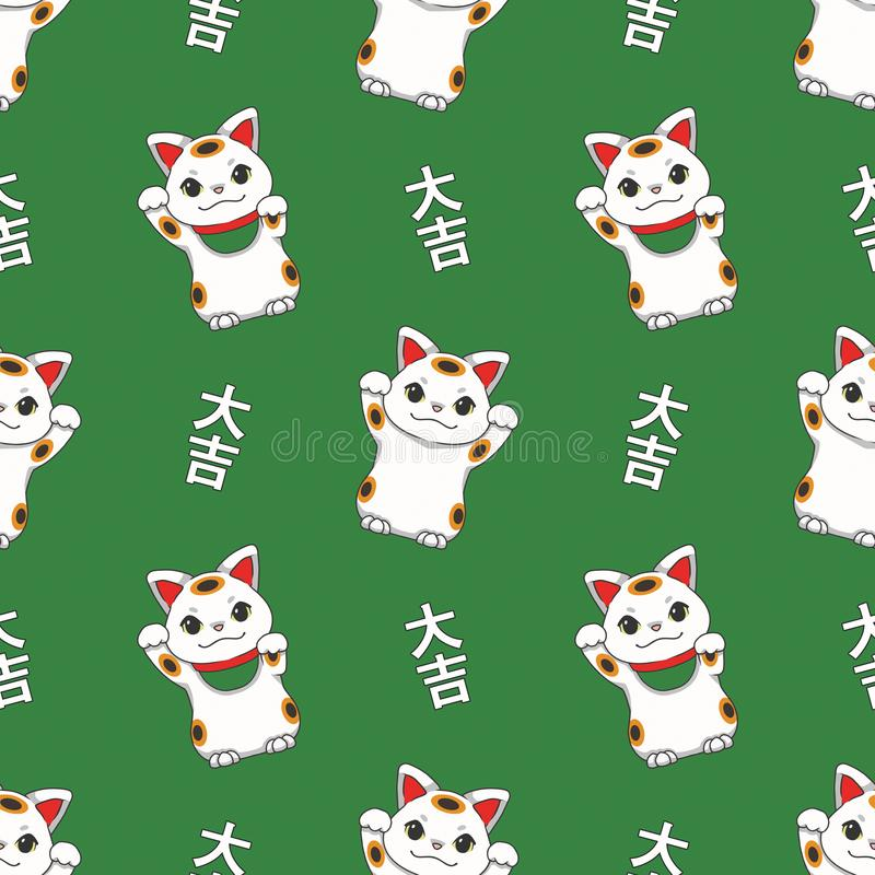 Seamless pattern with traditional Japanese `Maneki Neko` winking lucky cat on green background vector illustration