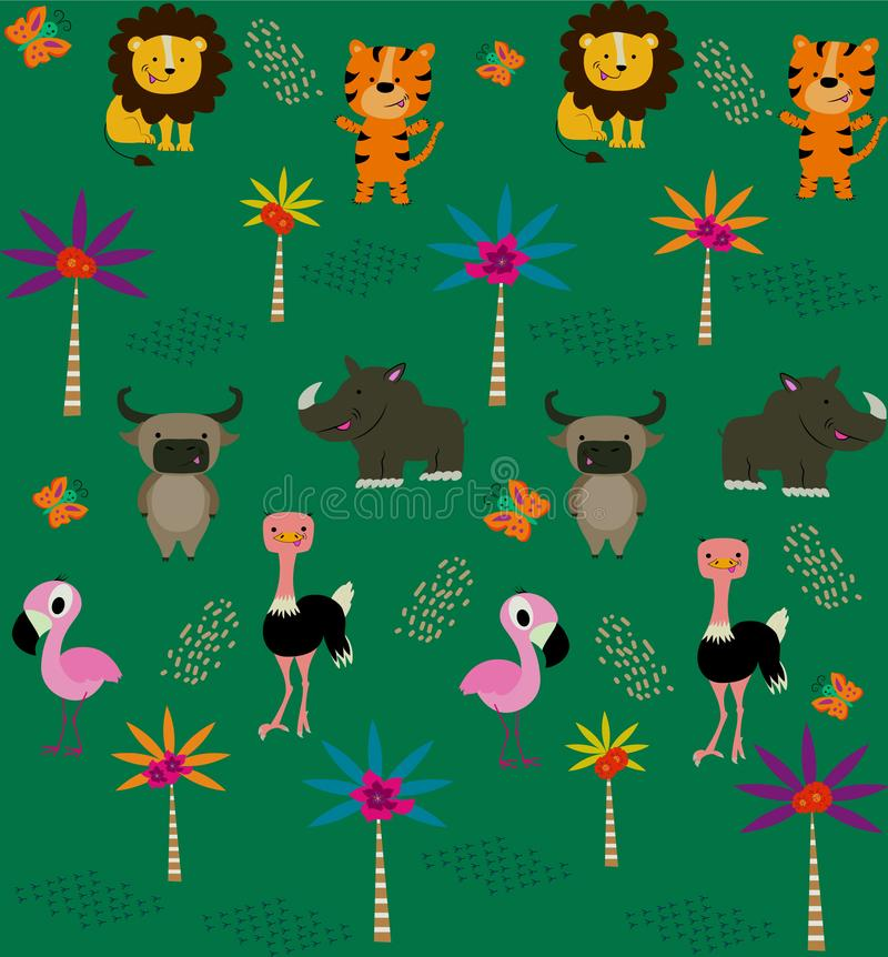 Seamless pattern with cute tropical animals. vector illustration