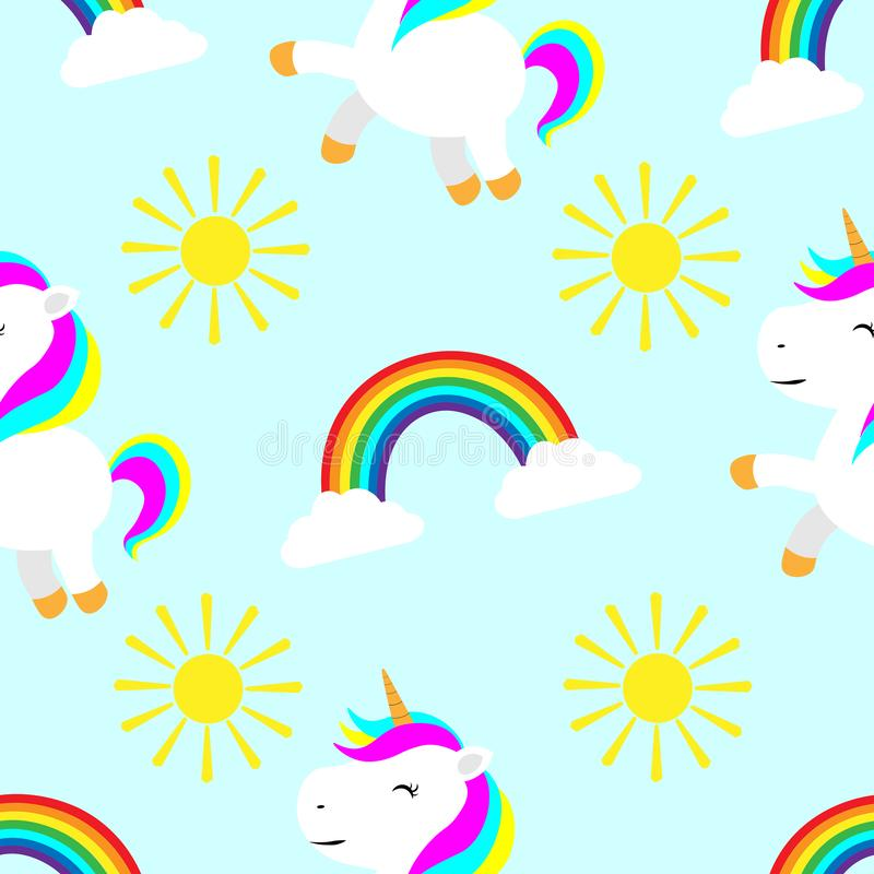 Seamless pattern cute unicorn children illustration print on fabric wallpaper on the wall textile greeting cards scrapbooking. Illustration Seamless pattern cute stock illustration